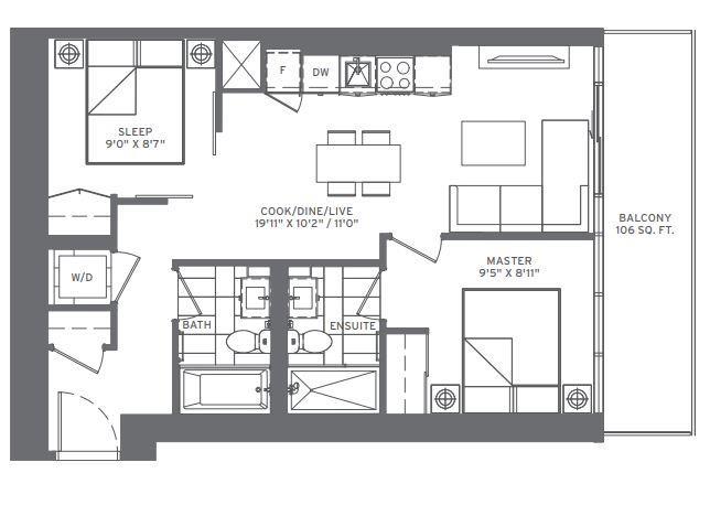 2B-T (Upper) Floorplan 1