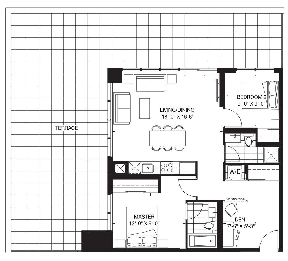 The Tower Collection - Champagne - Terrace Floorplan 1