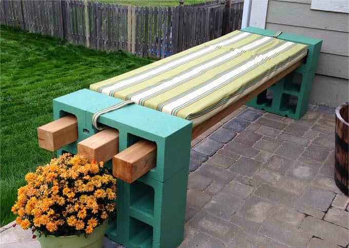 Cinder block bench for your backyard bash