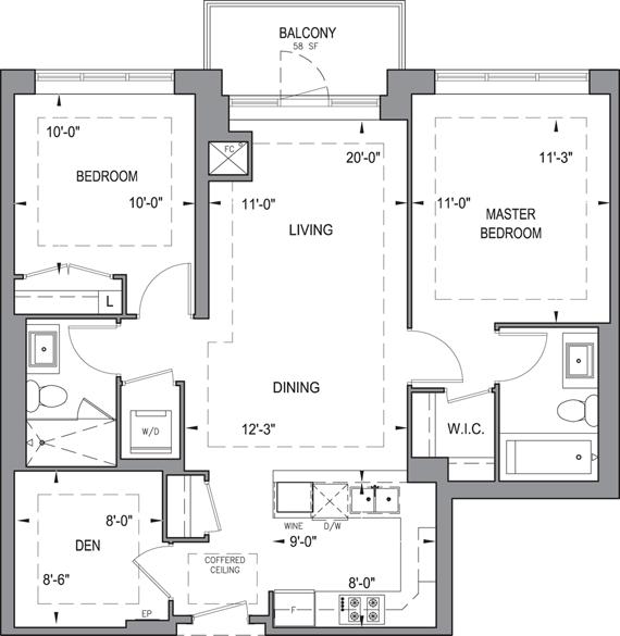 Building B - Typical Suites - 2F+D Floorplan 1