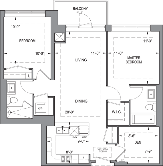 Building B - Typical Suites - 2E+D Floorplan 1