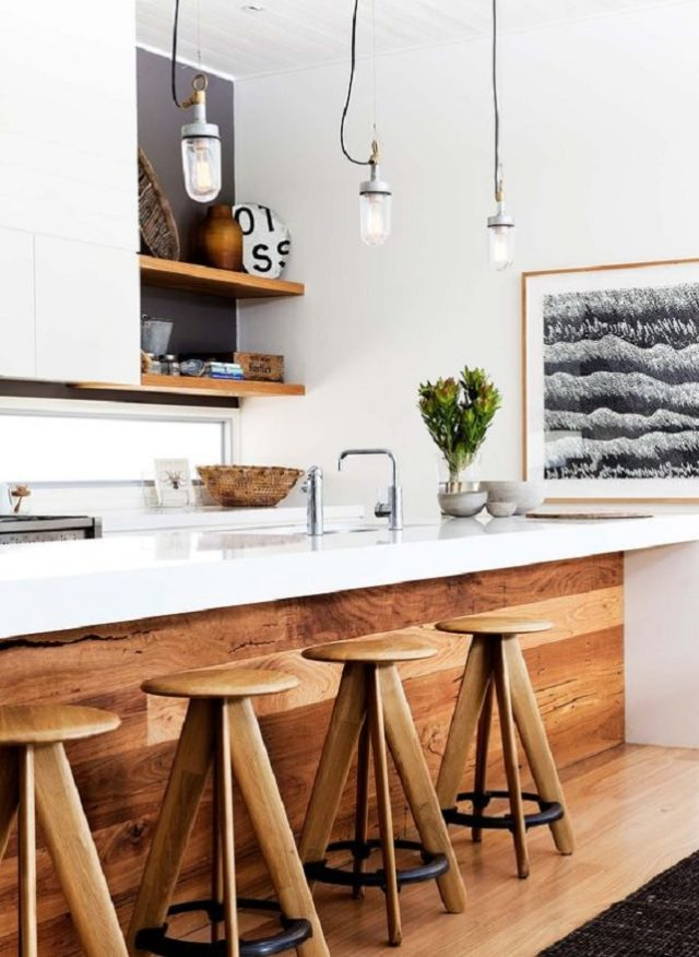 Warm up your living space with wood surfaces