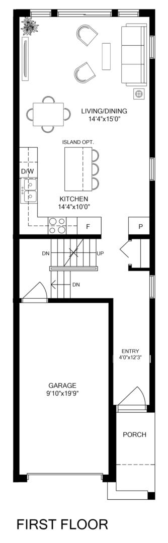 Inside Unit 2 Bedroom Floorplan 1