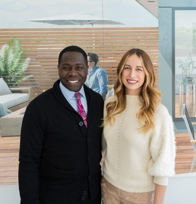 Derek Nzeribe, Milborne Group, with interior designer Sascha Lafleur.