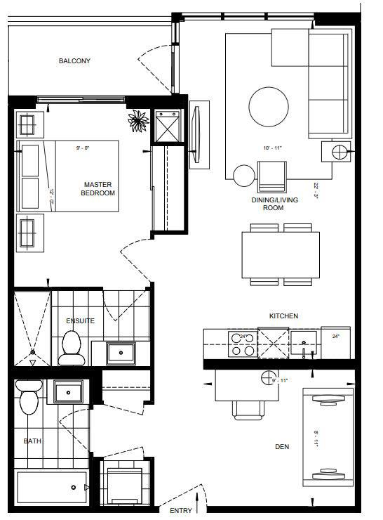 1BD-D Floorplan 1