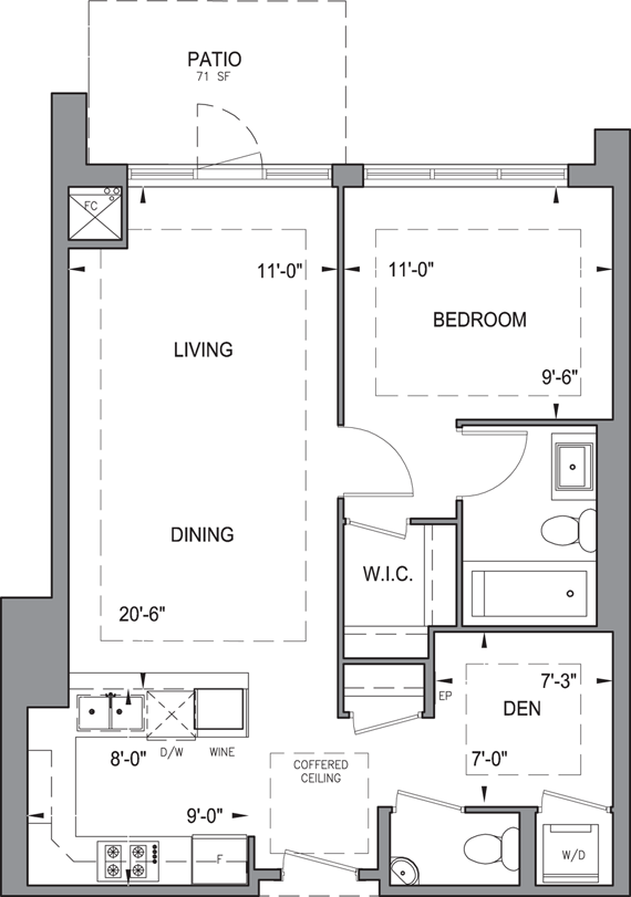 Building B - Garden Suites - 1B+DP Floorplan 1