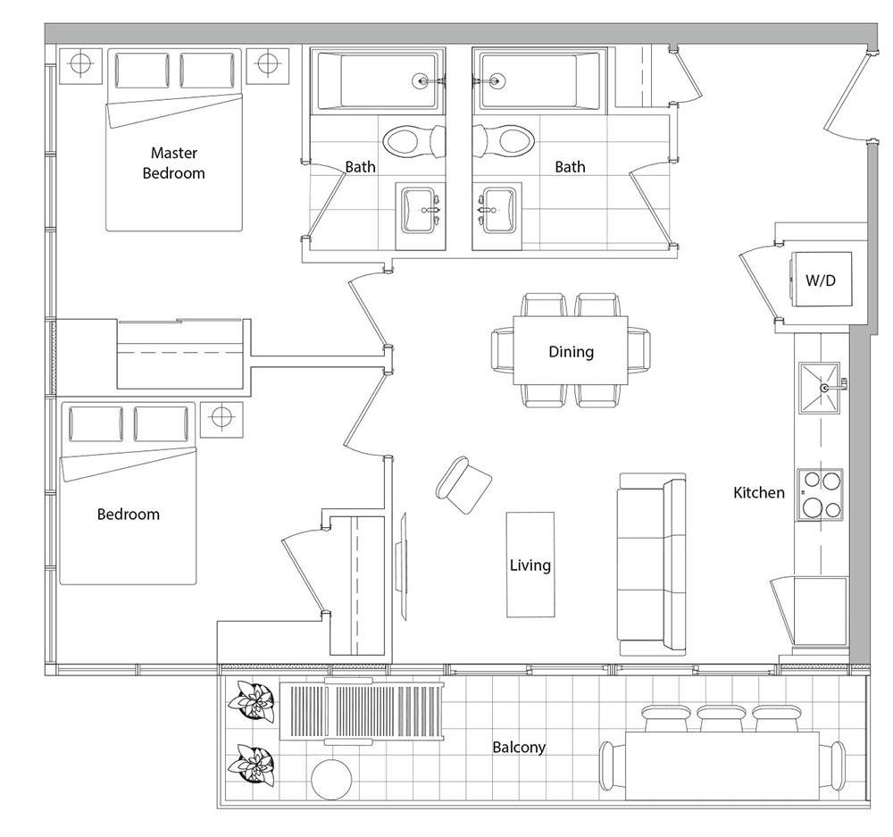 Lower Typical (West Tower) 11 Floorplan 1