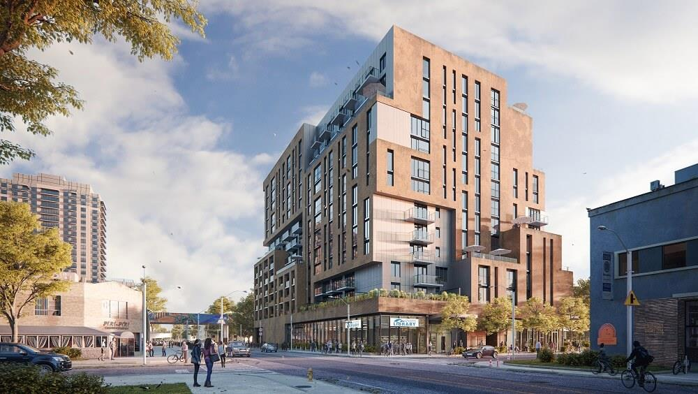New residential-library hybrid building now under construction in Toronto Image