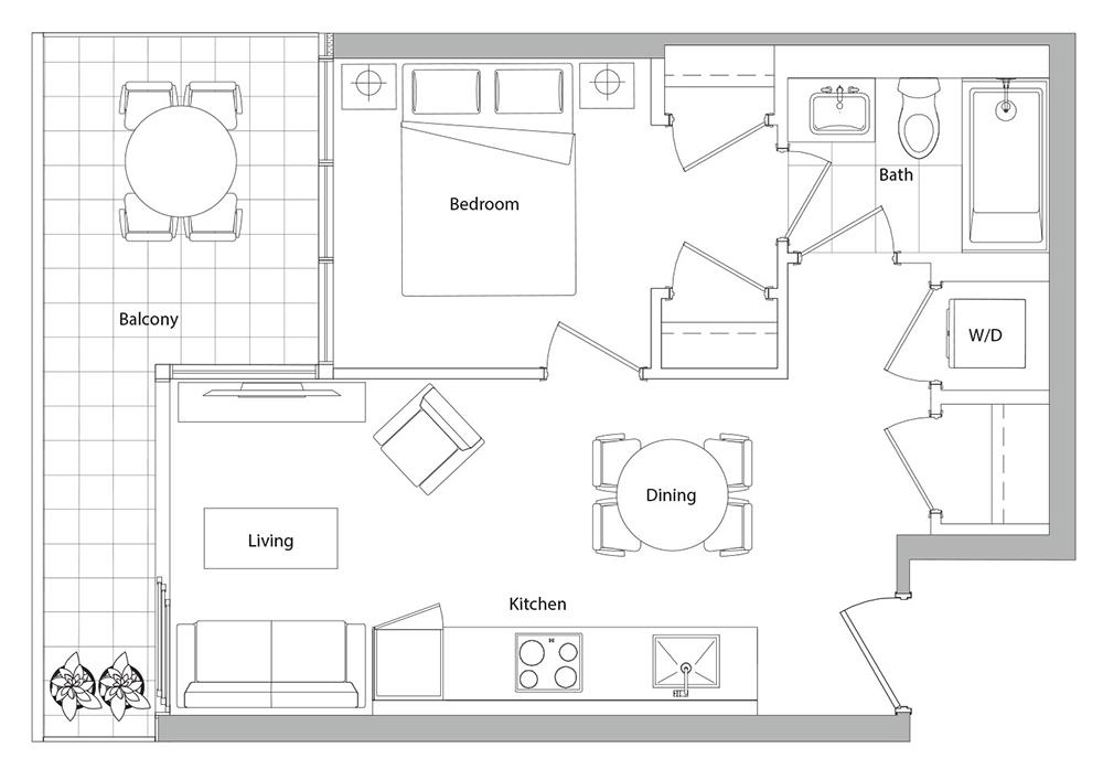 Lower Typical (West Tower) 15 Floorplan 1