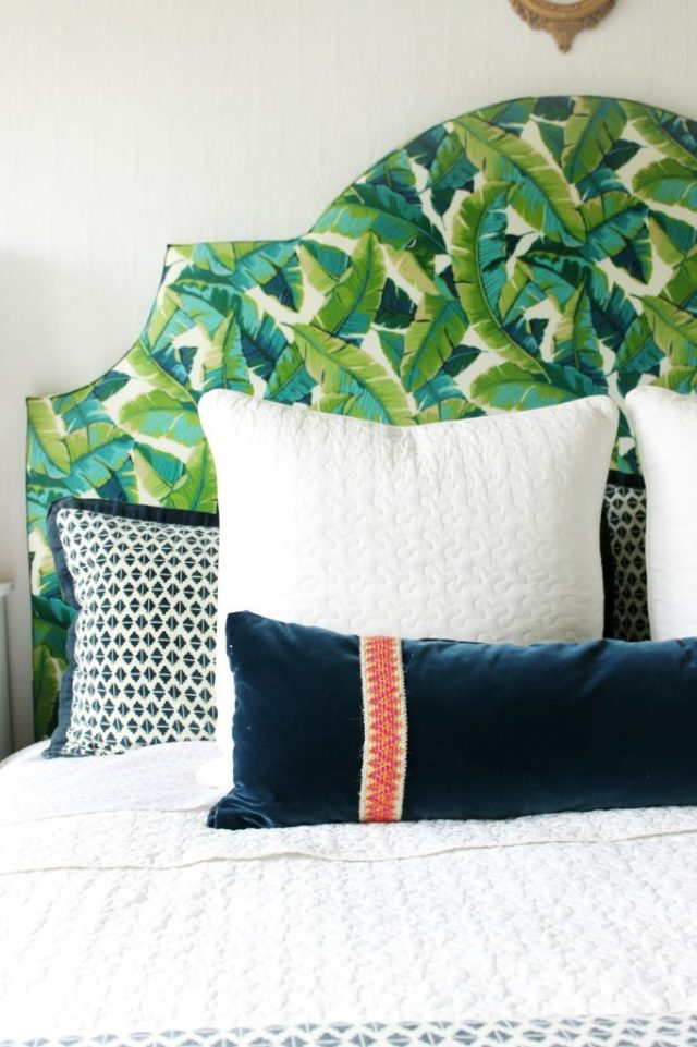 Cool home decor idea: give your headboard a tropical print