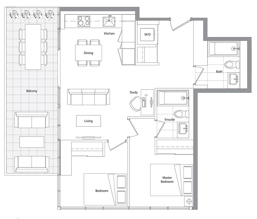 Lower Typical (East Tower) 10 Floorplan 1