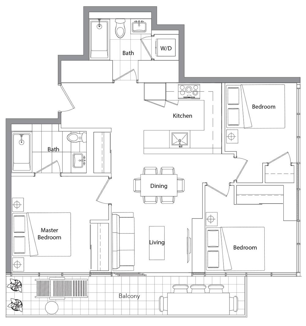 Lower Typical (West Tower) 10 Floorplan 1