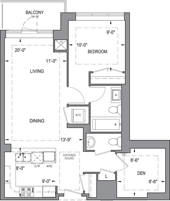Building B - Typical Suites - 1D+D Floorplan 1