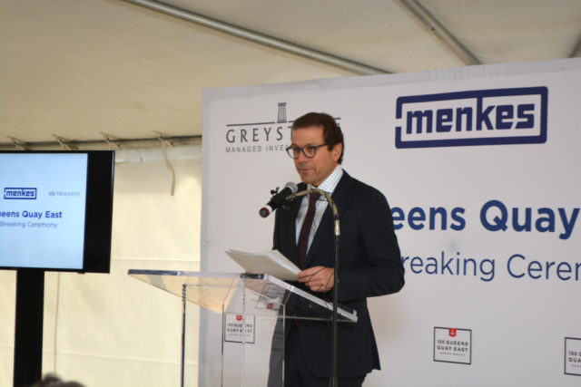 Peter Menkes at the Sugar Wharf groundbreaking
