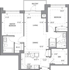 Building B - Typical Suites - 2B+D Floorplan 1