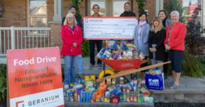 Geranium makes a donation to the Whitchurch-Stouffville Food Bank in time for Thanksgiving Image