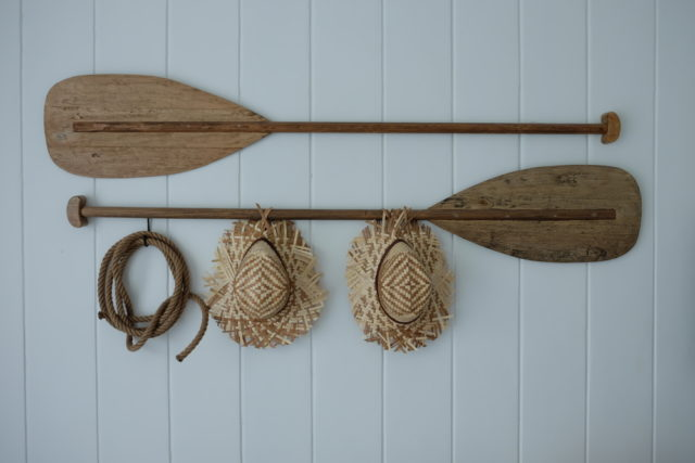 Cottage inspired home decor idea: Display recreational items