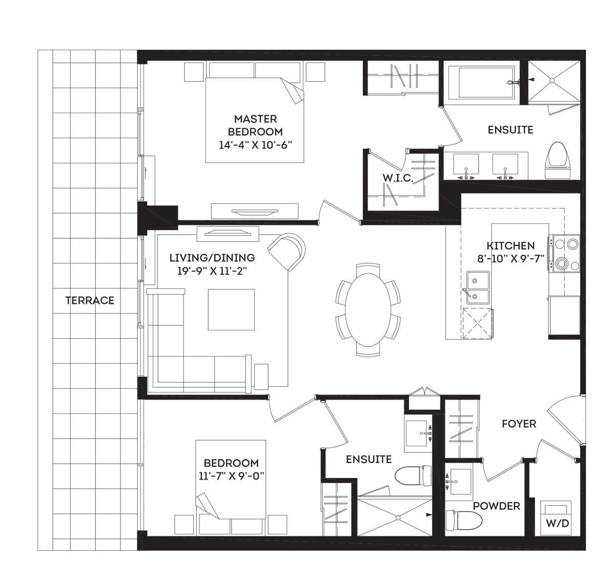 The Greenwich II Terrace Floorplan 1